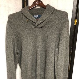 Polo sweater cashmere wool blend XL